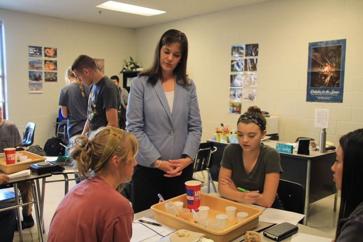 Education Commissioner Candice McQueen visits with students at Arlington High School during a 2016 tour.