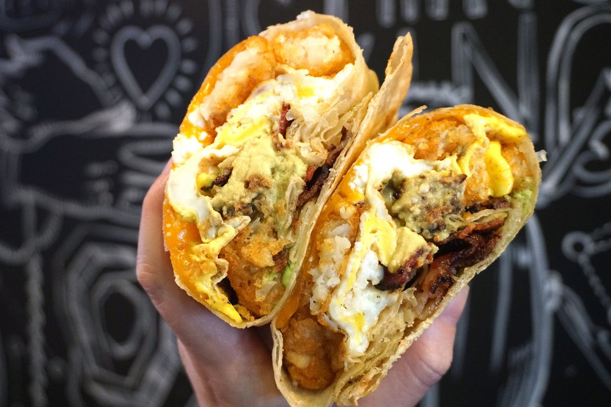 A breakfast burrito from The Rooster