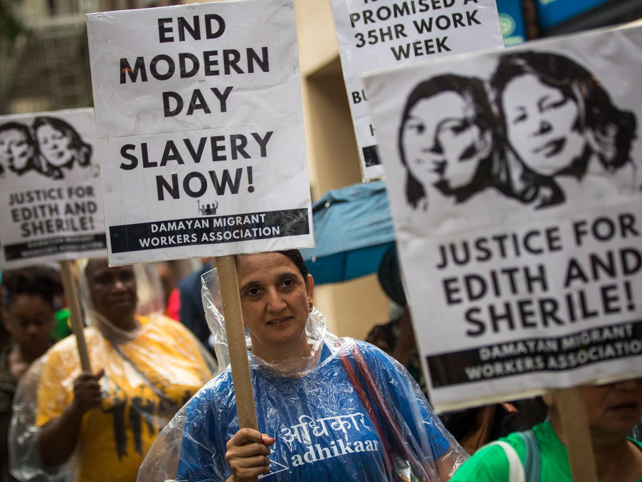 Activists march toward the German consulate during a rally to support two Filipina domestic workers in their lawsuit against a German diplomat, August 7, 2017 in New York City.