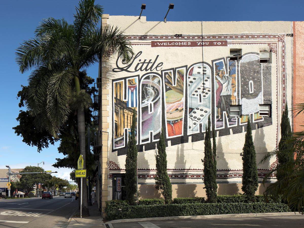 A building in Little Havana with an arty Little Havana painted on the side