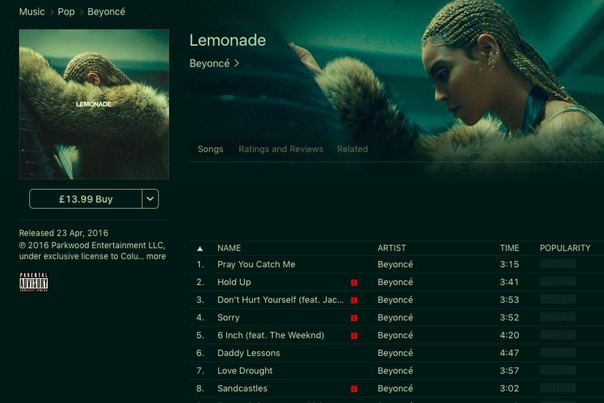 Beyoncé's new album Lemonade is now available to buy on