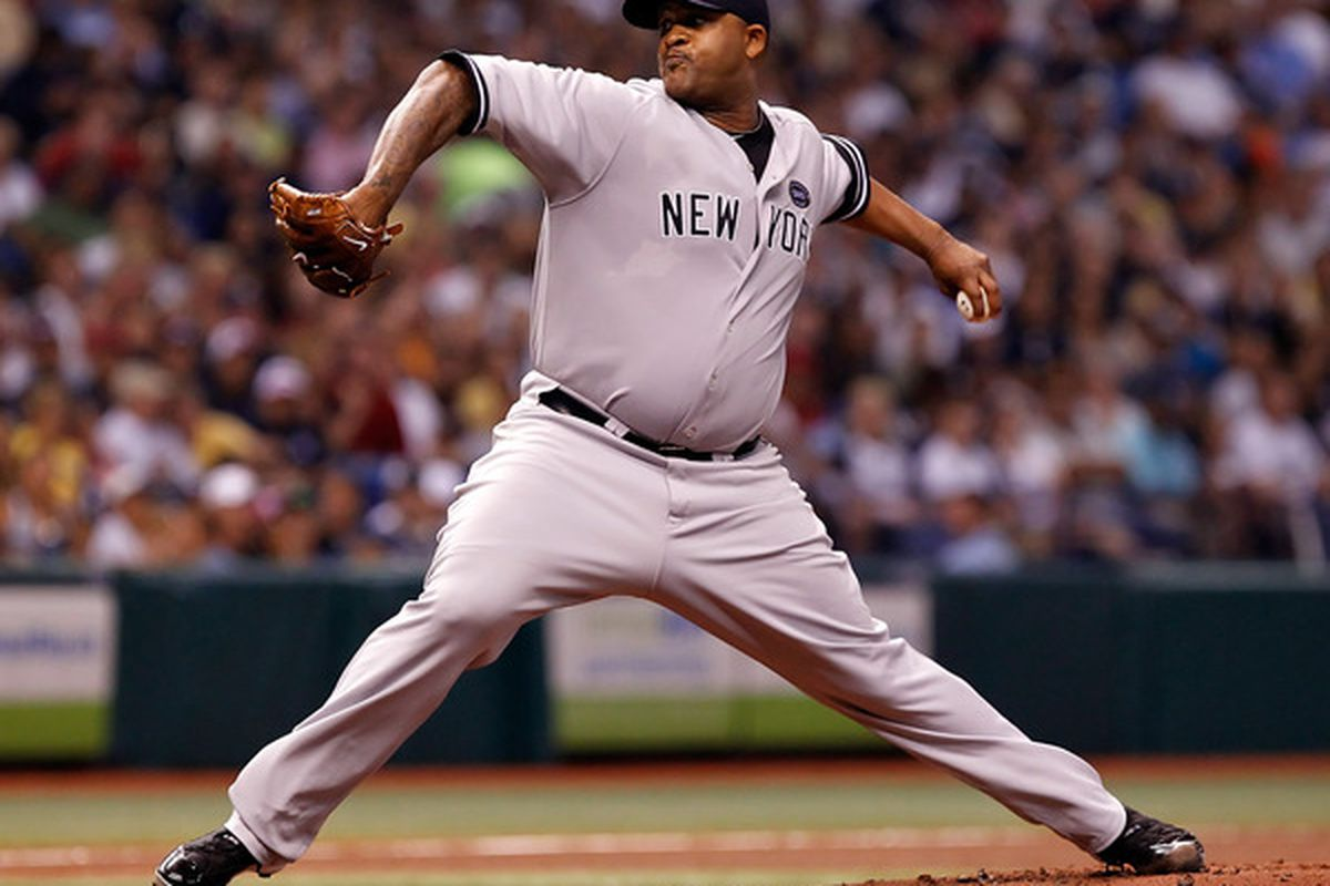 ST PETERSBURG FL - SEPTEMBER 13:  Pitcher C.C. Sabathia #52 of the New York Yankees pitches against the Tampa Bay Rays during the game at Tropicana Field on September 13 2010 in St. Petersburg Florida.  (Photo by J. Meric/Getty Images)