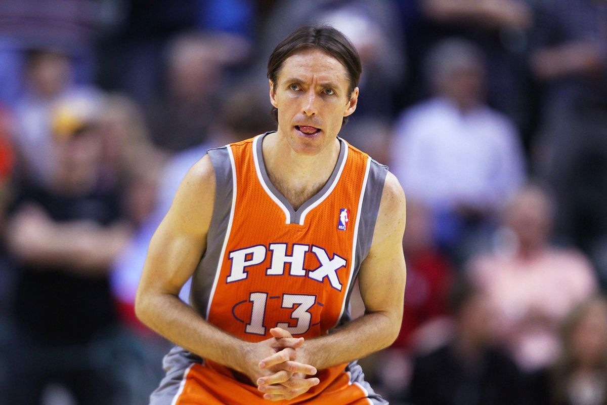 March 23, 2012; Indianapolis, IN, USA; Phoenix Suns point guard Steve Nash (13) waits for the tip off against the Indiana Pacers at Bankers Life Fieldhouse. Phoenix defeated Indiana 113-111. Mandatory credit: Michael Hickey-US PRESSWIRE