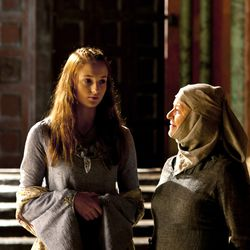 Season 1: Sansa's hair was a bit frizzy in the beginning, and this was BEFORE horrible things started happening to her.