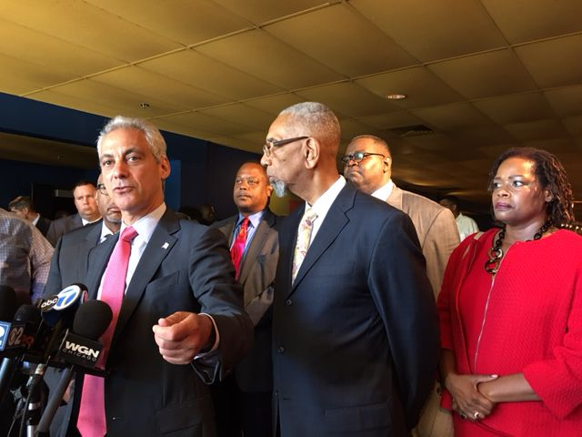 Mayor Rahm Emanuel, Congressman Bobby Rush and Nedra Fears, executive director of the Greater Chatham Initiative, at a news conference Wednesday. | Fran Spielman/Sun-Times