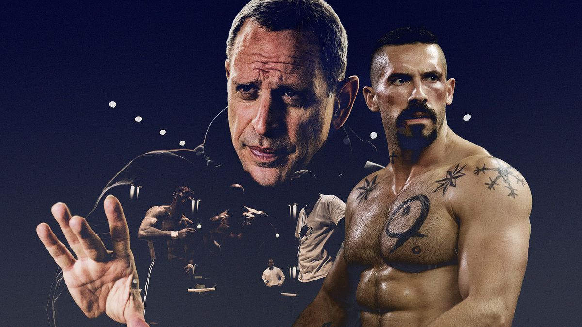Director Isaac Florentine and stuntman/actor Scott Adkins collaged against a purple background
