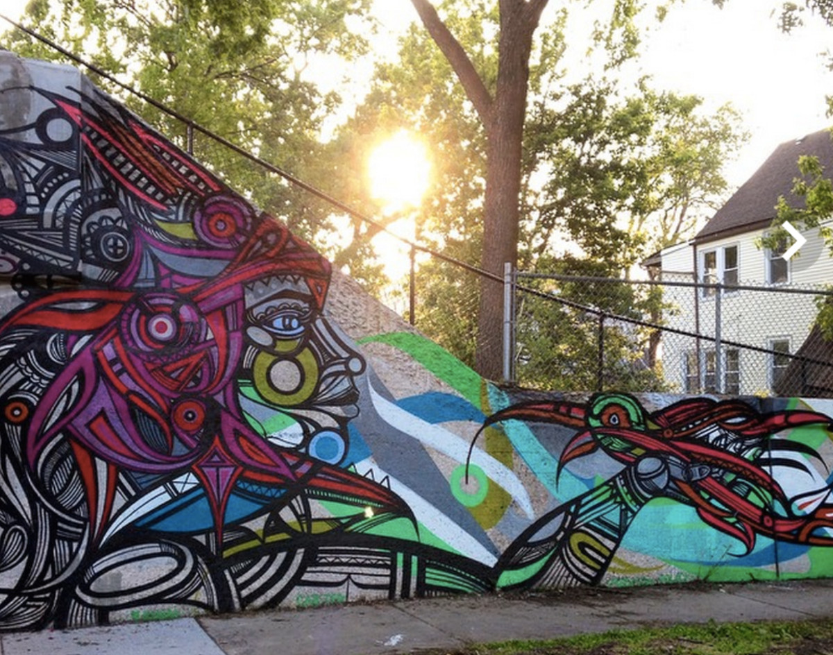 """""""Humanidad,"""" a mural Miguel Del Real painted for The 606 / Bloomingdale Trail's 2016 opening, can be seen at Sawyer and Bloomingdale avenues."""