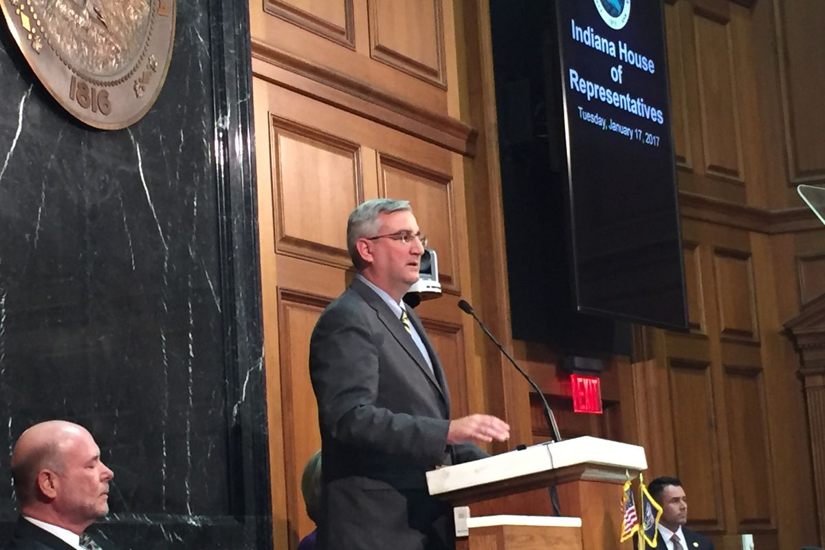 Gov. Eric Holcomb address lawmakers and the public during his State of the State Address.