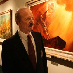 """Arnold Friberg talks about the paintings he did for Cecil B. DeMille's epic motion picture """"The Ten Commandments"""" during a media preview tour of the exhibit in 2006."""