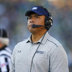 Navy head coach Ken Niumatalolo looks at the scoreboard during the second half of an NCAA college football game against Notre Dame, Saturday, Oct. 10, 2015, in South Bend, Ind. Notre Dame won the game 41-24.