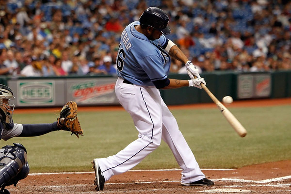 ST. PETERSBURG - MAY 16:  Designated hitter Willy Aybar #16 of the Tampa Bay Rays fouls off a pitch against the Seattle Mariners during the game at Tropicana Field on May 16, 2010 in St. Petersburg, Florida.  (Photo by J. Meric/Getty Images)
