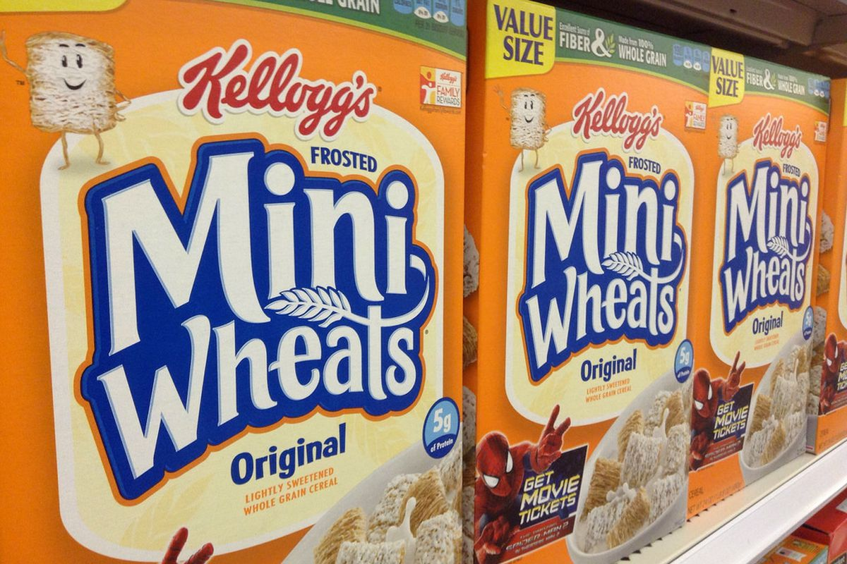 Boxes of Kellogg-brand Frosted Mini-Wheats.