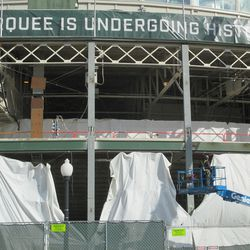 12:05 p.m. The beams were the covering beam has already been attached -