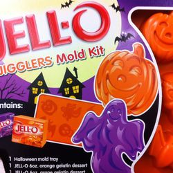 Everything you need to make spooky JELL-O Jigglers in orange and grape
