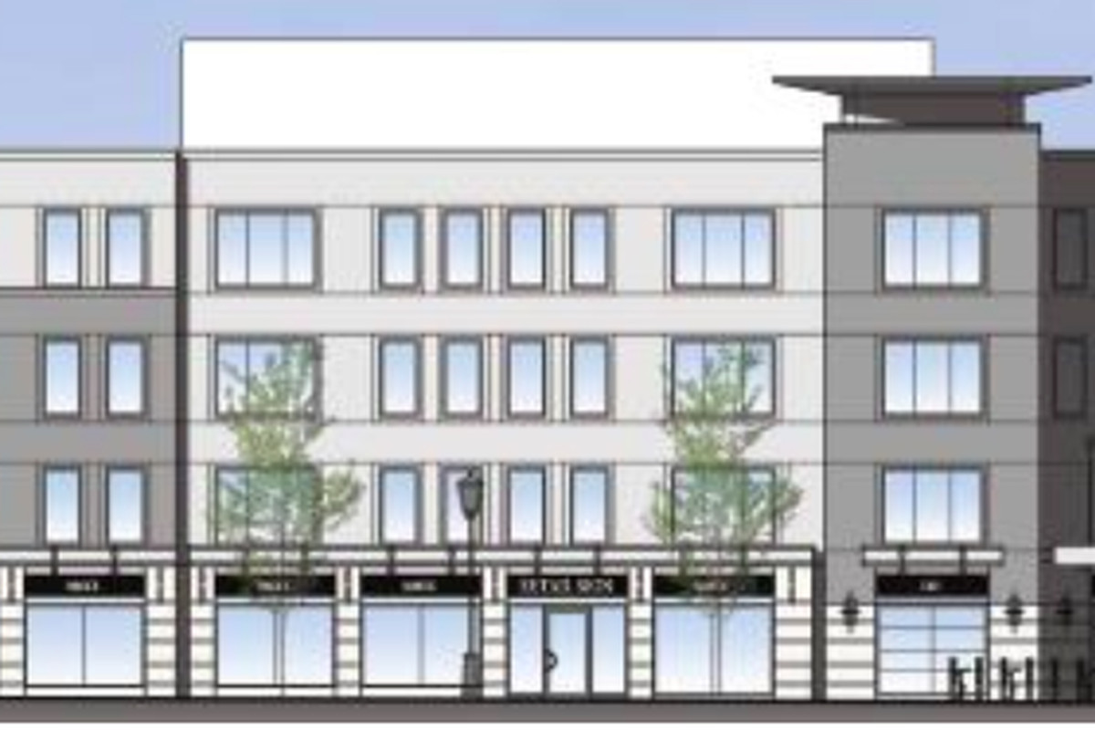 Rendering of a four-story, rectangular building.