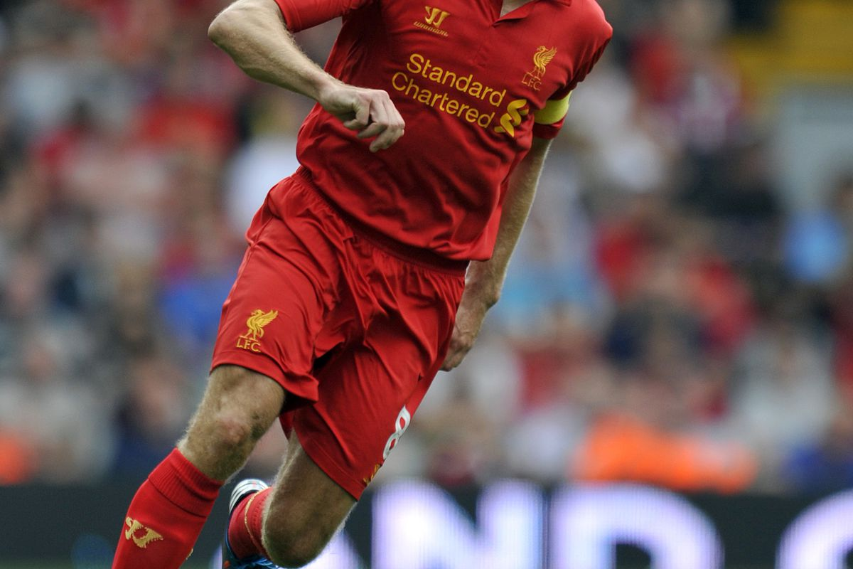 LIVERPOOL, ENGLAND - AUGUST 12:  Steven Gerrard of Liverpool during the pre season friendly match between Liverpool and Bayer Leverkusen at Anfield on August 12, 2012 in Liverpool, England. (Photo by Clint Hughes/Getty Images)