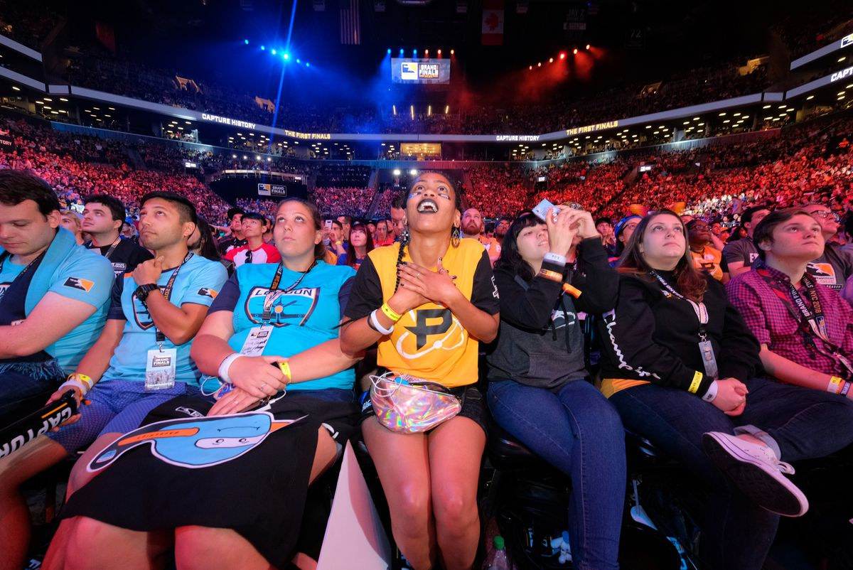 Fans cheer at the Overwatch League Grand Finals