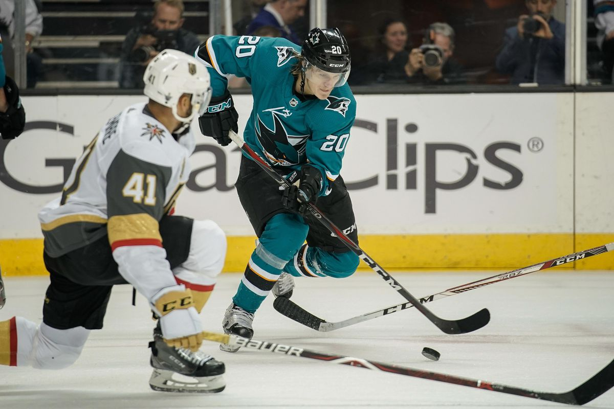May 6, 2018; San Jose, CA, USA; San Jose Sharks left wing Marcus Sorensen (20) controls the puck against Vegas Golden Knights left wing Pierre-Edouard Bellemare (41) during the second period in game six of the second round of the 2018 Stanley Cup Playoffs