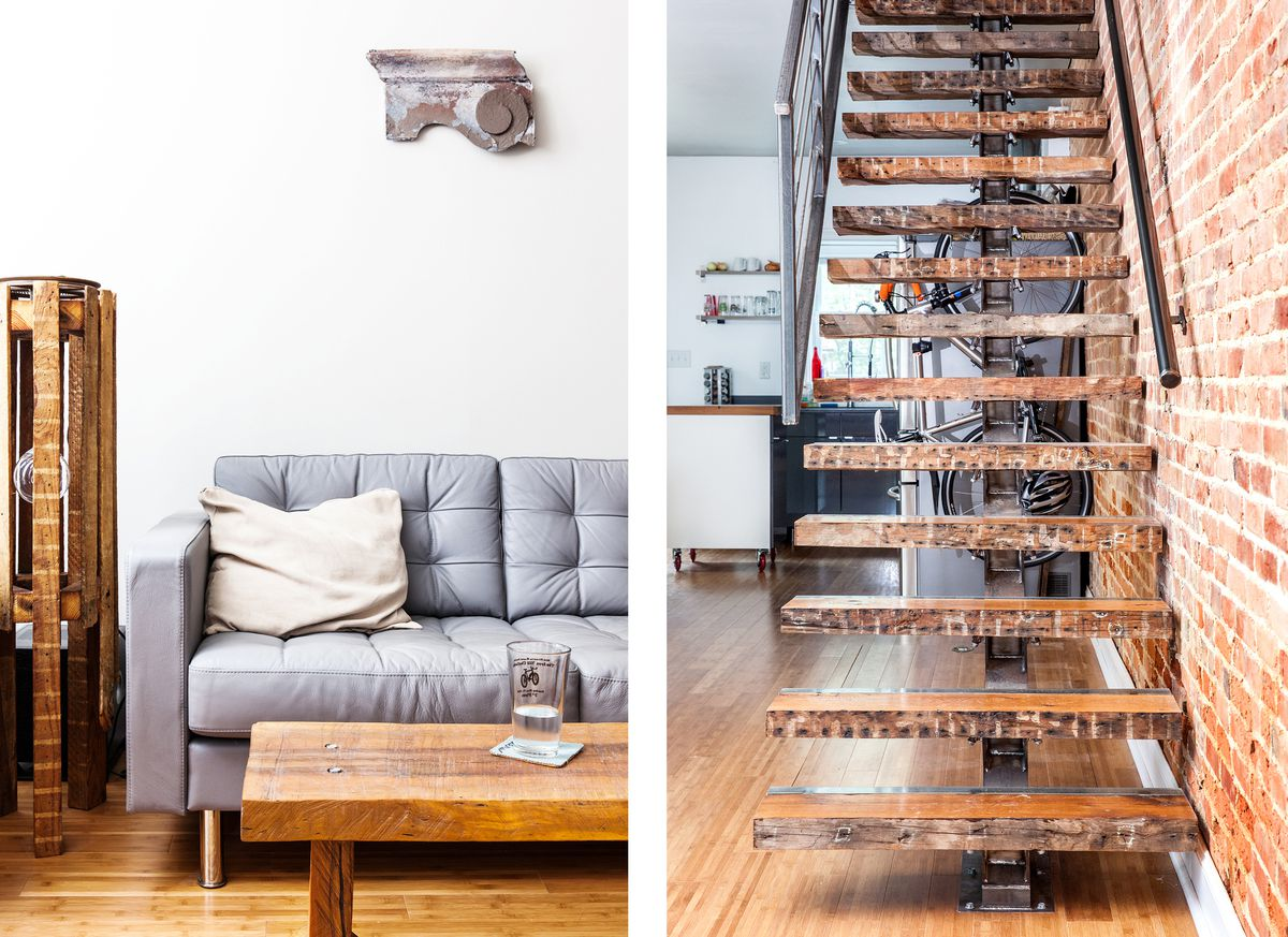 A living room and staircase in the renovated home of Shea Fredericks.