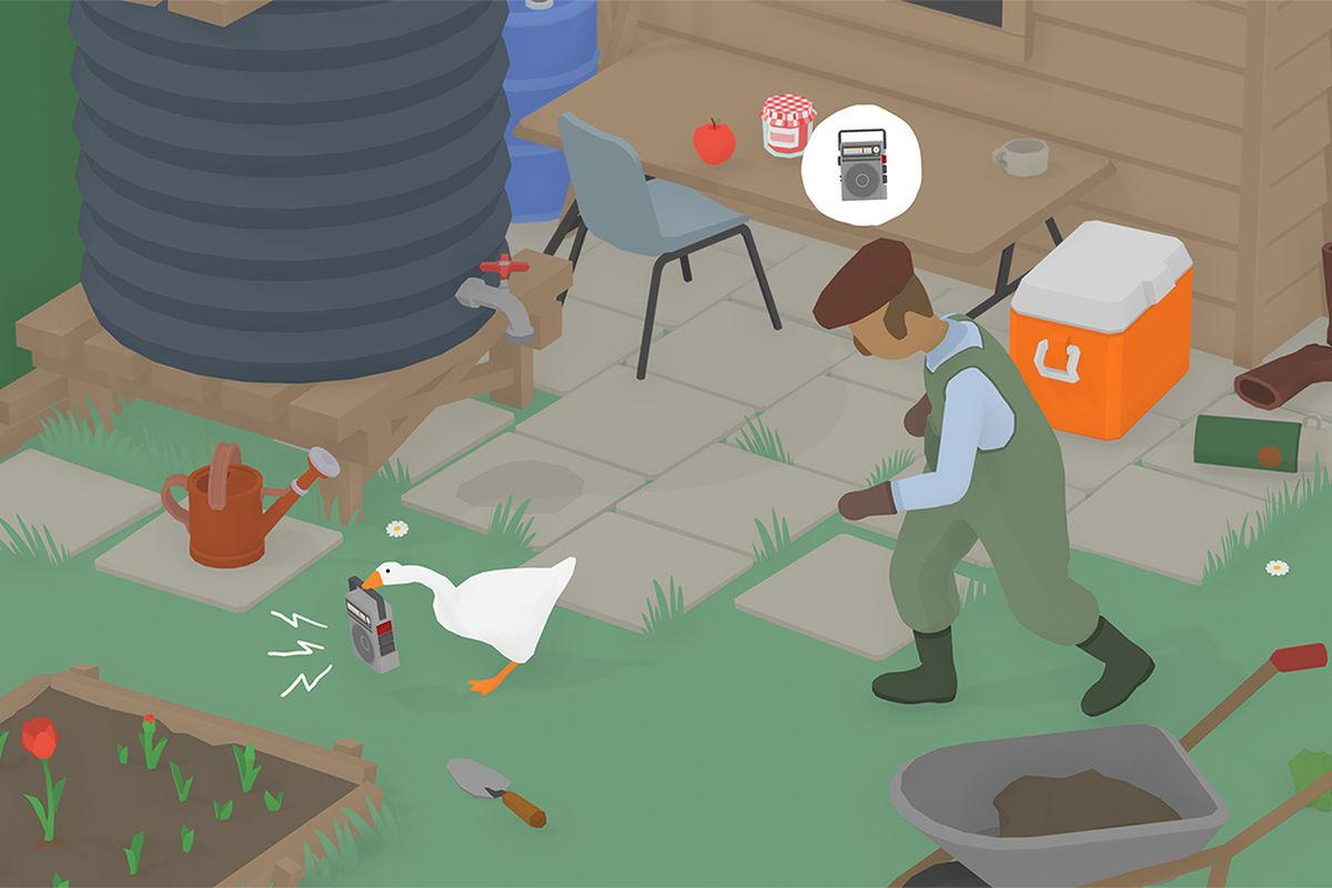 A scene from The Garden in Untitled Goose Game