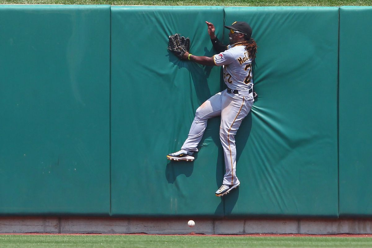 ST. LOUIS, MO - JUNE 30: Andrew McCutchen #22 of the Pittsburgh Pirates fails to catch a deep fly ball against the St. Louis Cardinals at Busch Stadium on June 30, 2012 in St. Louis, Missouri.  (Photo by Dilip Vishwanat/Getty Images)