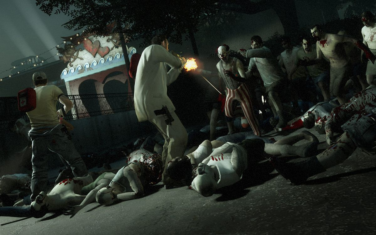 Nick and Ellis fight off waves of infected clowns in Left 4 Dead 2
