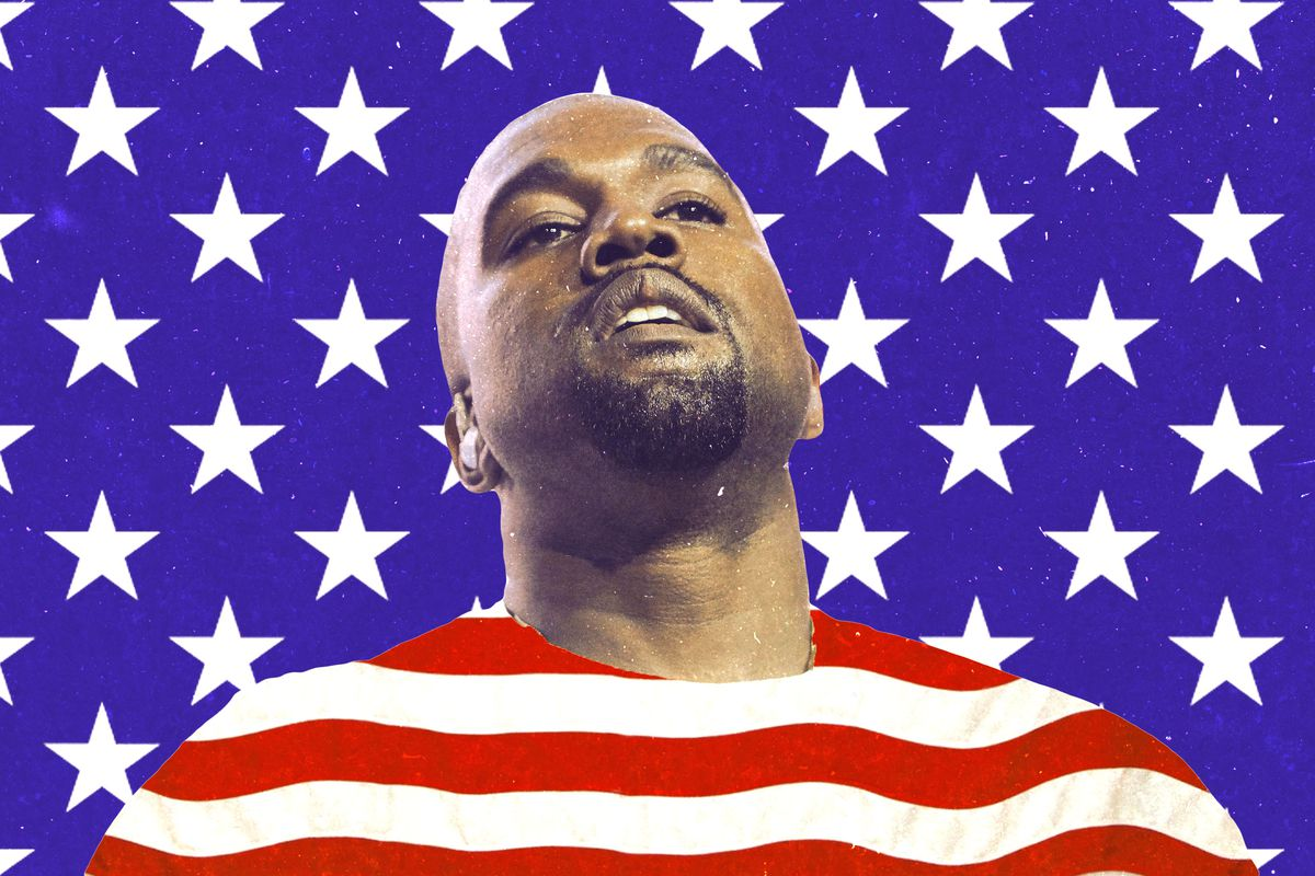 Kanye West in front of an American flag