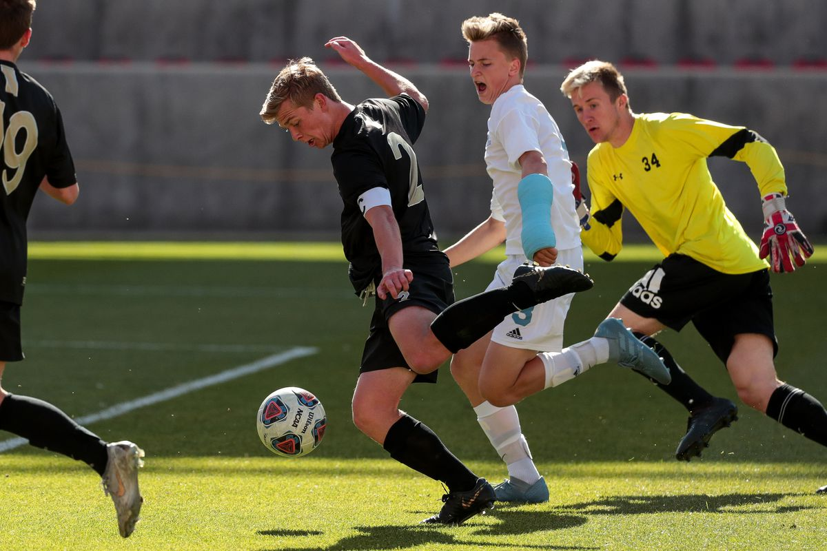 Desert Hills and Sky View compete in the 4A boys soccer championship at Rio Tinto Stadium in Sandy on Saturday, May 11, 2019.