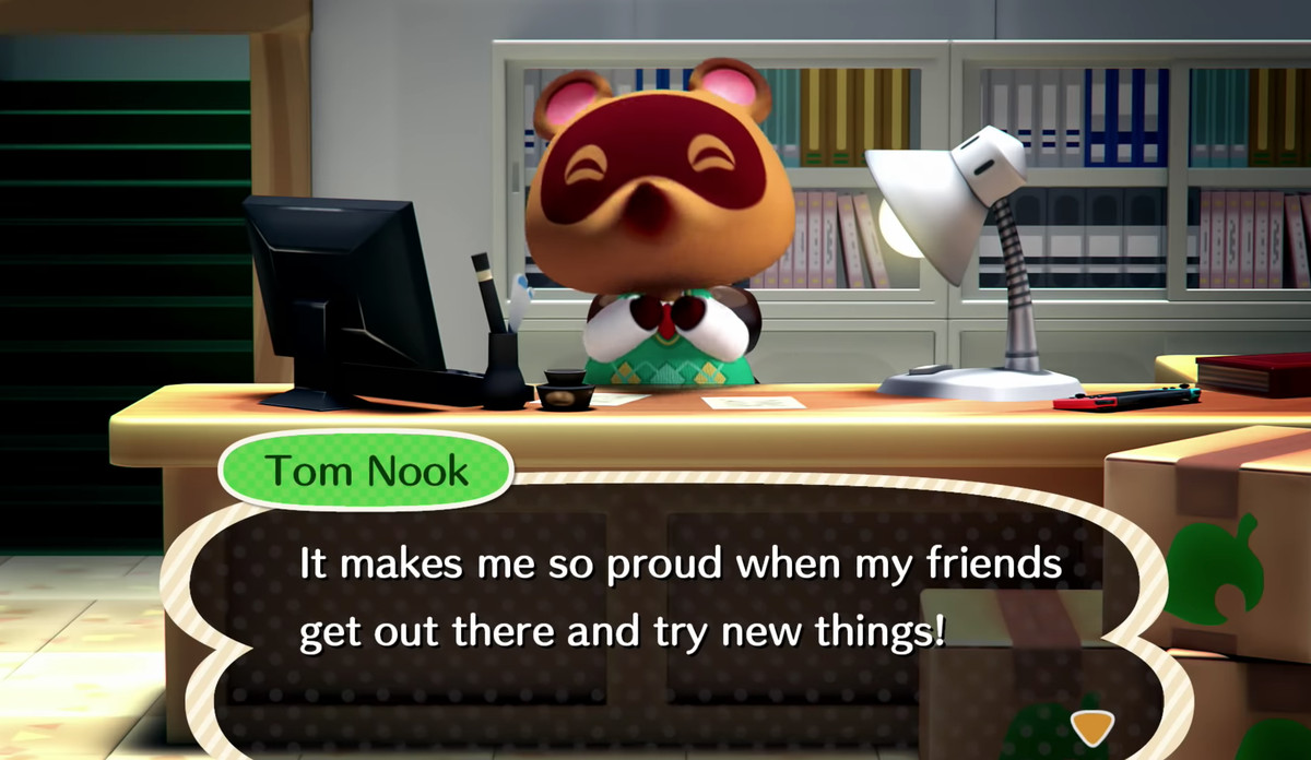 Tom Nook in Animal Crossing Switch Message trailer