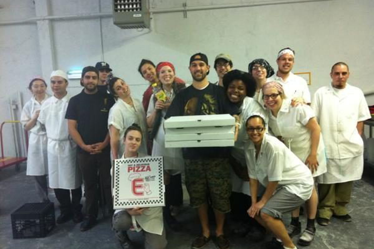 The Milk Maids at the Momofuku Milk Bar commissary scored a free Eater Pizza from Best Pizza.