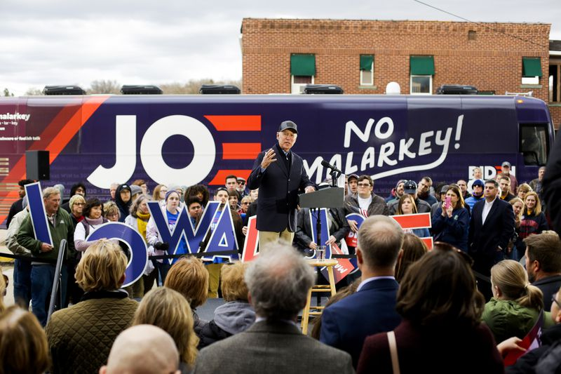 Former Vice President Joe Biden speaks during a campaign event in Council Bluffs, Iowa.