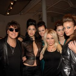 Richie Sambora and Nikki Lund with models dressed in their WTB Fall 2011 Collection