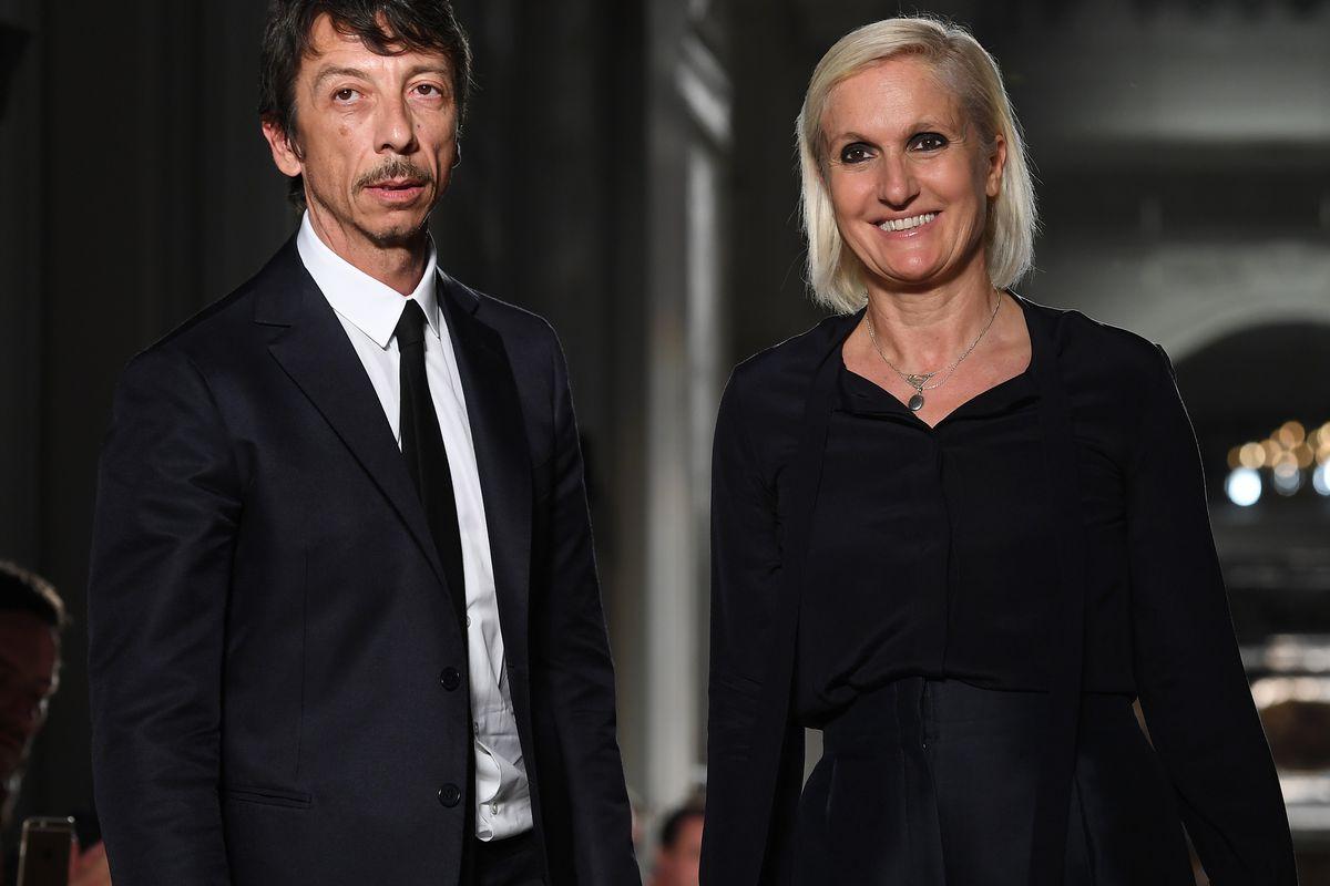 Maria Grazia Chiuri and Pierpaolo Piccioli at a runway presentation