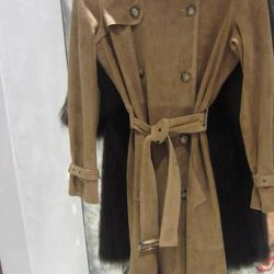 Sand-colored suede trenchcoat, $1,095
