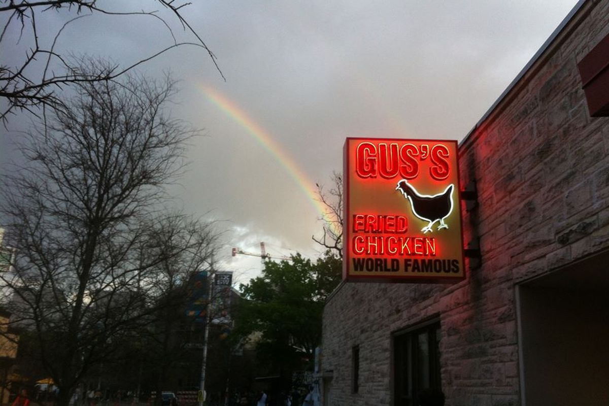 A rainbow over the Gus's World Famous Fried Chicken in Austin