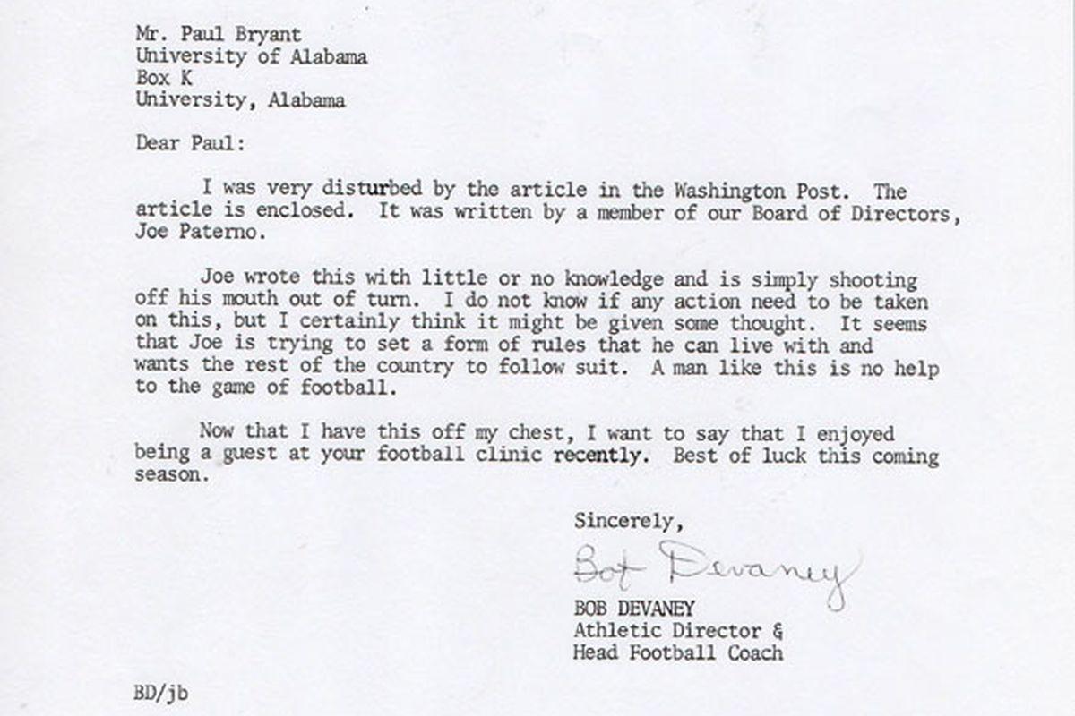 Devaney Letter to Paul Bear Bryant