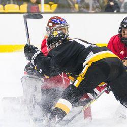 Boston Pride forward Emily Field crashes into Metropolitan Riveters goaltender Katie Fitzgerald.