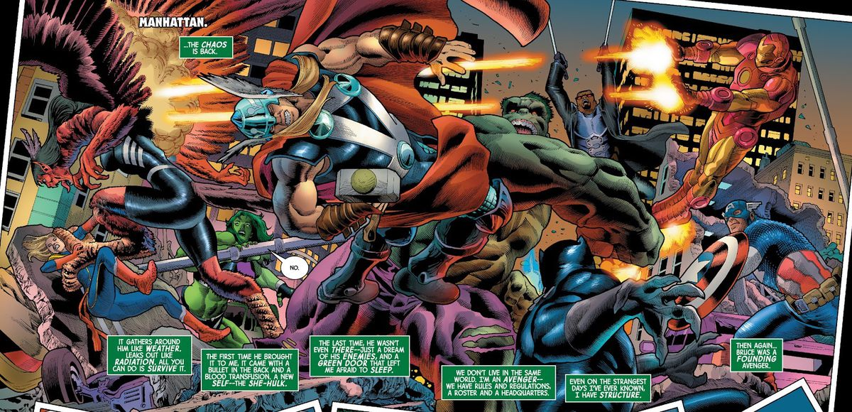 In The Immortal Hulk # 47 (2021), the Avengers collide with the Hulk and Harpy in a chaotic double wide panel.