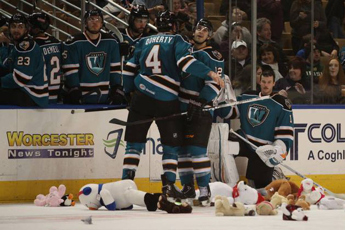 Teddy bears flood the rink at the DCU Center after Worcester Sharks defenseman Taylor Doherty tied the game at 1-1 early in the third period with his first goal of the season.