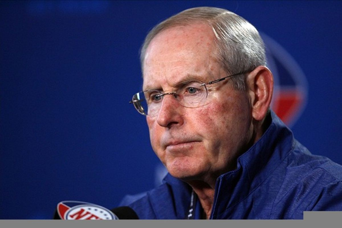 Feb 24, 2012; Indianapolis, IN, USA; New York Giants coach Tom Coughlin speaks at a press conference during the NFL Combine at Lucas Oil Stadium. Mandatory Credit: Brian Spurlock-US PRESSWIRE