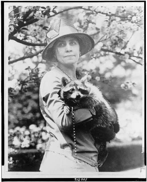 First lady Grace Coolidge holding Rebecca