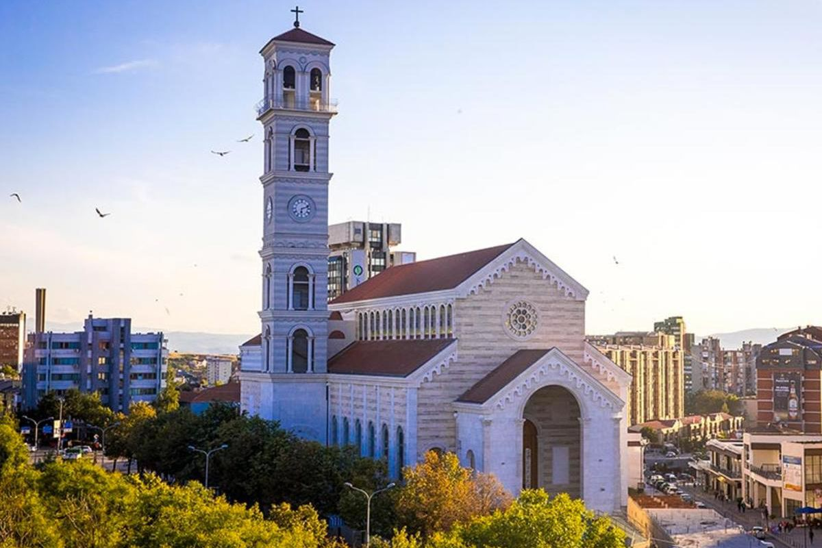 View of the Mother Teresa Cathedral in downtown Pristina, the tallest building in Kosovo, also known as the Sanctuary of Mother Teresa.