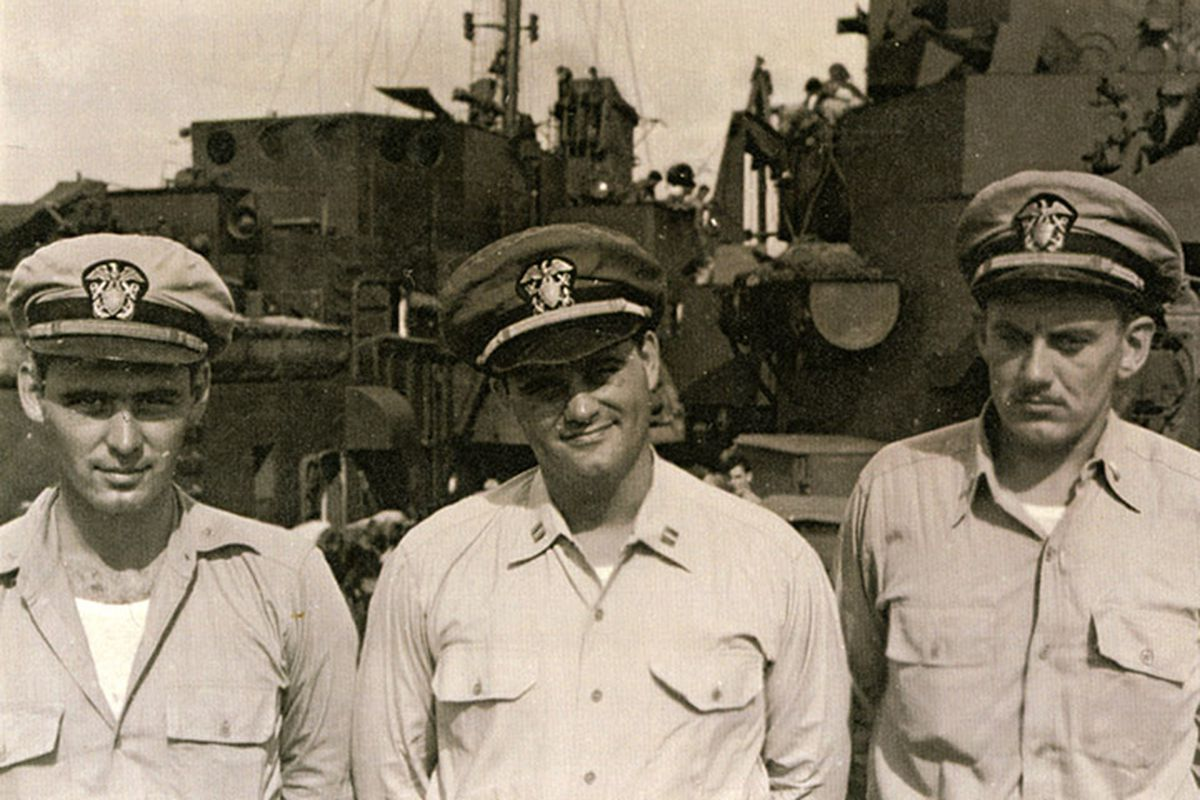 Woody Hayes, center, serving in the Navy during World War II.