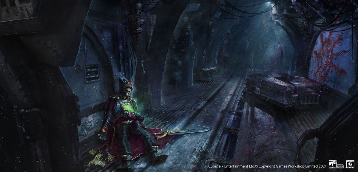 The corpse of an Imperial officer lies in a chaos tainted hallway, weird glyphs on the wall.