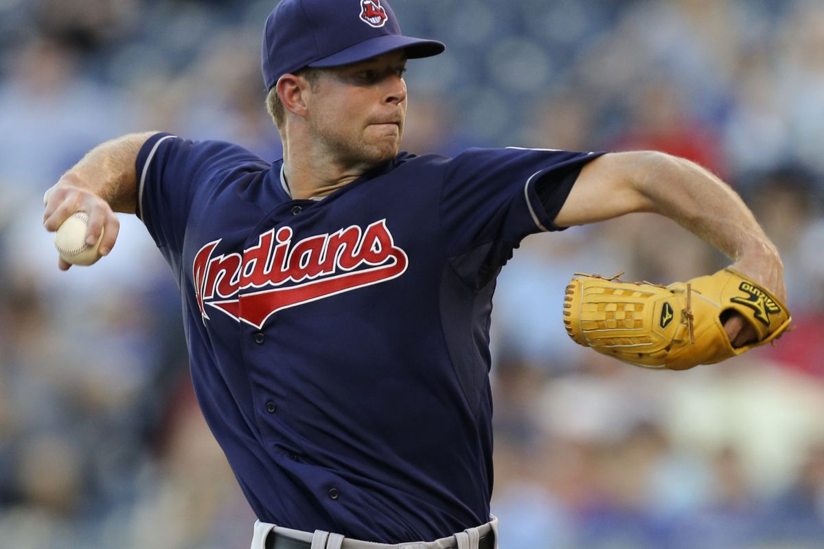 KANSAS CITY, MO - AUGUST 02:  Corey Kluber #28 of the Cleveland Indians pitches against the Kansas City Royals in the first inning at Kauffman Stadium on August 2, 2012 in Kansas City, Missouri. (Photo by Ed Zurga/Getty Images)