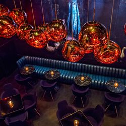 The mural and chandeliers at Himitsu.