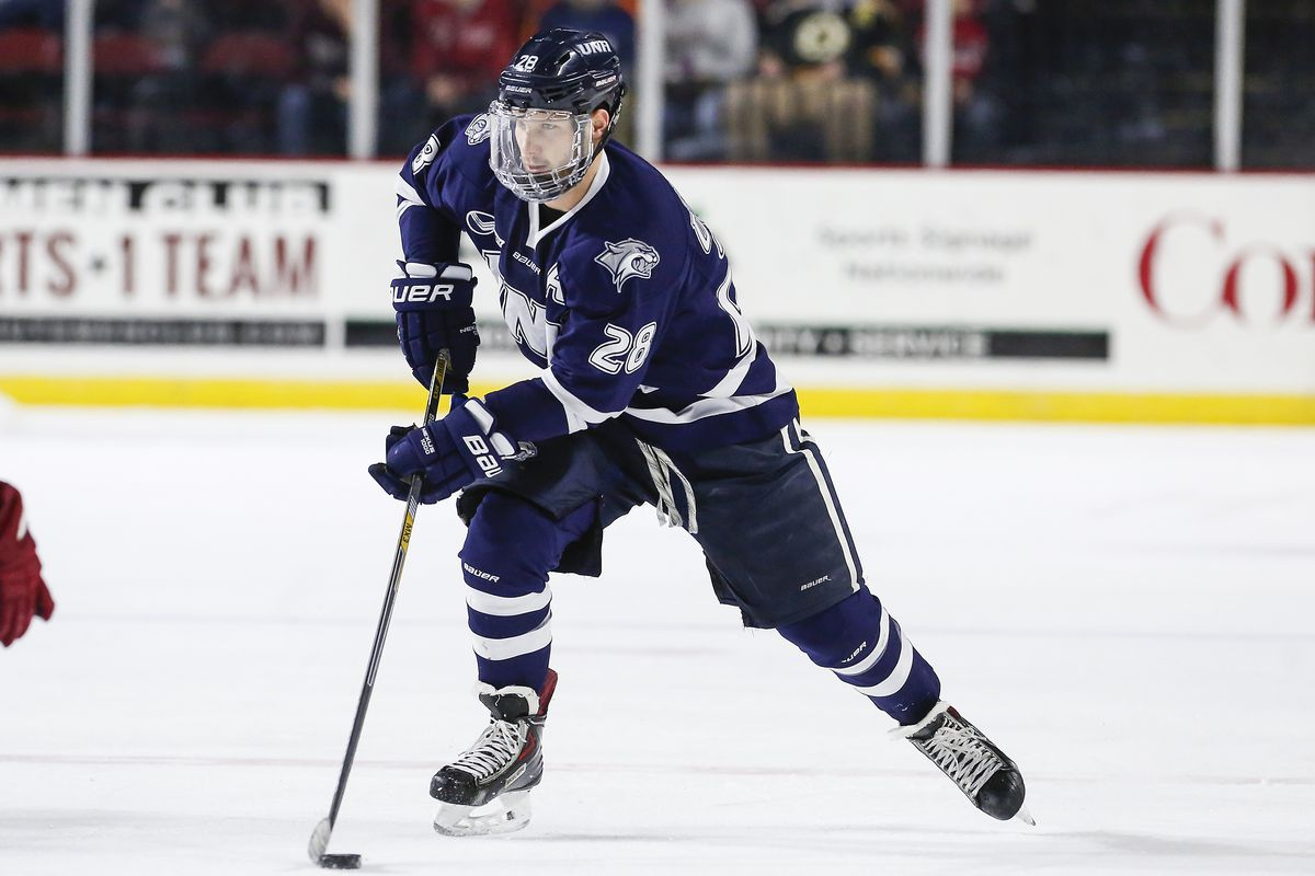 Grayson Downing and the UNH Wildcats are the lowest remaining seed in the Hockey East Tournament.