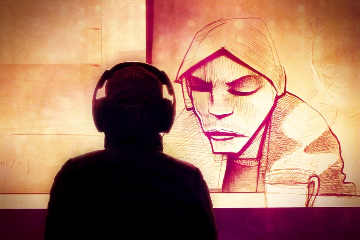 Silhouette of a man with headphones looking at the 'Untrue' album cover