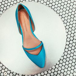 """""""The embossed lizard texture adds a cool factor to this d'orsay flat. You can't go wrong with a bright turquoise for spring."""" <b>Sigerson Morrison</b> Halia, <a href=""""http://www.sigersonmorrison.com/HALIA-p-20082-s-65840-col-258-cat.html#.UynD_K1dVr0"""">$35"""