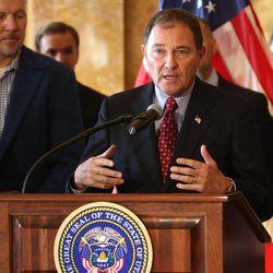 Gov. Gary Herbert discusses the Healthy Utah plan at the state Capitol in Salt Lake City on Thursday, Dec. 4, 2014.
